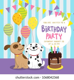Birthday party invitation card with cute dogs and chocolate cake.