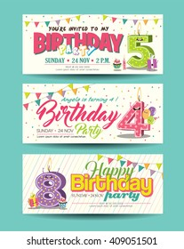 Birthday Party Invitation Card with Funny Character