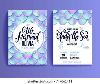 Birthday party invitation card for little girl mermaid. Holographic fish scales and lettering invitation. Sea party invitation. Vector illustration.