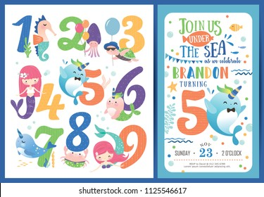Birthday party invitation card template with cute little mermaid, marine life cartoon character and birthday anniversary numbers
