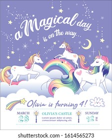 Birthday party invitation card template with a beautiful unicorns on the clouds