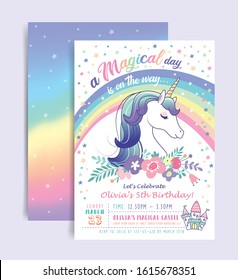Birthday party invitation card template with a magical unicorn and rainbow background