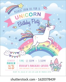 Birthday party invitation card template with a cute unicorn and rainbow background