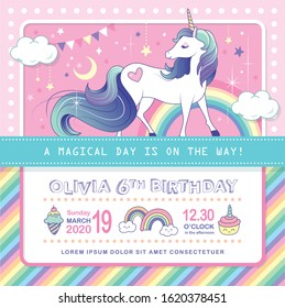 Birthday party invitation card template with a beautiful unicorn and rainbow background