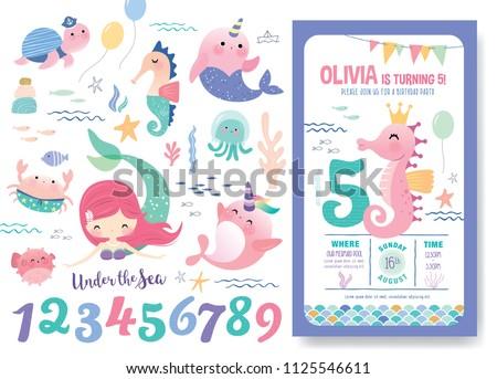 birthday party invitation card template cute のベクター画像素材