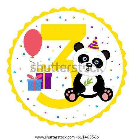 Birthday party invitation card template birthday stock vector birthday party invitation card template birthday anniversary number three with cute panda vector filmwisefo
