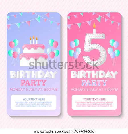 Birthday Party Invitation Card Template Stock Vector Royalty Free