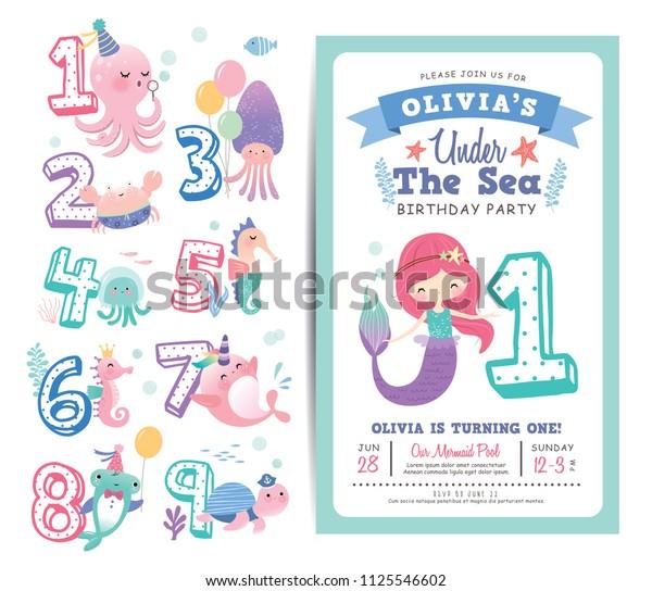 Birthday Party Invitation Card Template Cute Stock Vector
