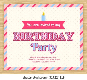 Birthday party invitation card , vector illustration