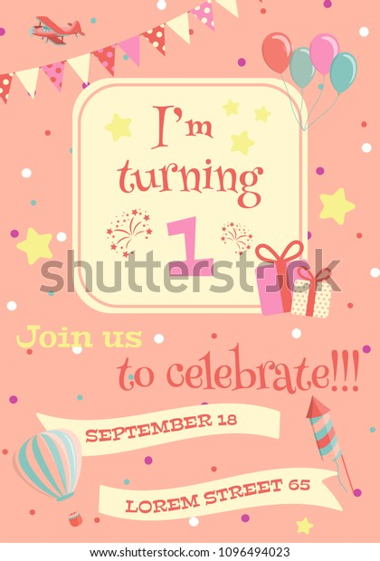 Birthday Party Invitation Card Vector Illustration Stock Vector ...