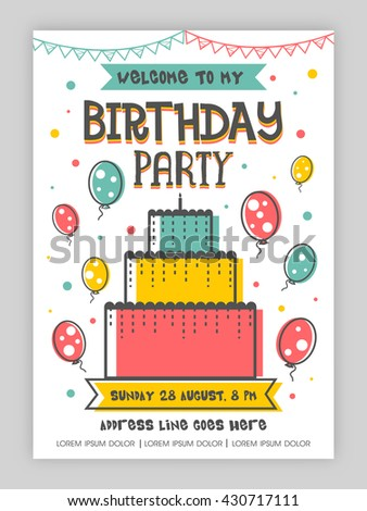 Birthday Party Invitation Card Welcome Card Stock Vector Royalty