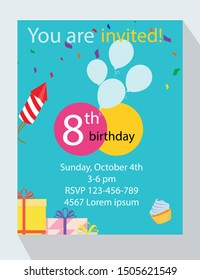 Birthday party invitation card. You are invited! 8th birthday!