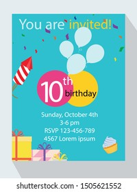 Birthday party invitation card. You are invited! 10th birthday!