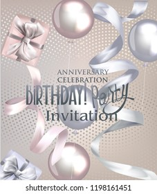 Birthday party invitation cards with  ribbons, air balloons and gift boxes. Vector illustration
