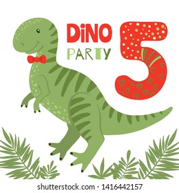 Birthday Party Invitation with cute dinosaur tyrannosaurus and number five. Vector illustrations.