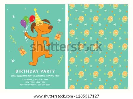 Birthday Party Invitation Dog Happy Stock Vektorgrafik