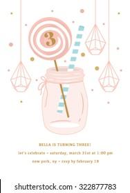 Birthday Party Invitation with Mason Jar and Lollipop
