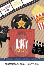 movie birthday party invitation card design stock vector royalty