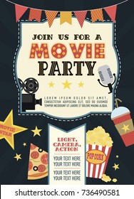 Birthday party invitation for Movie party, Hollywood party. Cinema poster. Vector illustration