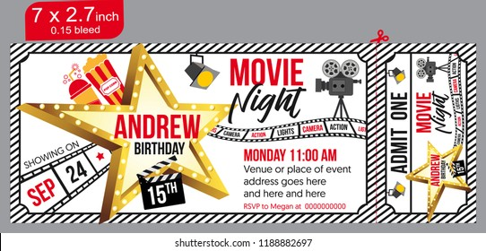 Birthday party invitation for Movie party, invitation ticket, movie ticket. Vector illustration