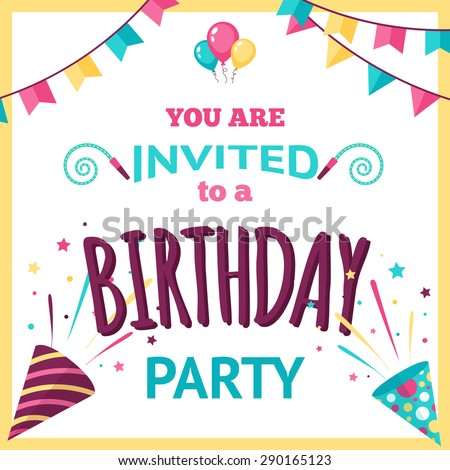Birthday Party Invitation Template Holiday Decoration Stock