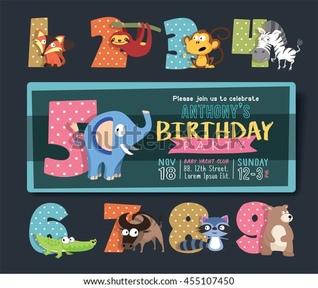 Birthday Party Invitation Template Numbers Funny Stock Vector