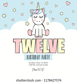 Birthday party invitation with unicorn. Twelve