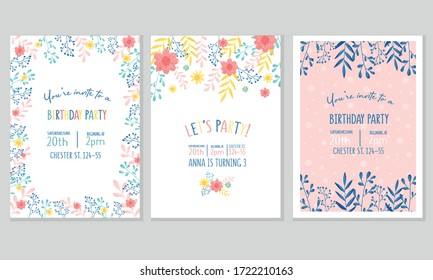 Birthday Party Invitation Vertical Card with Floral Elements Vector Set