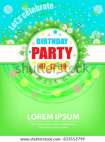Birthday Party Invitations Design Template For Spring Or Summer Celebrations Vector Illustration