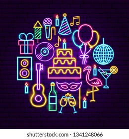 Birthday Party Neon Concept. Vector Illustration of Happy Promotion.
