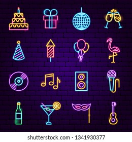 Birthday Party Neon Icons. Vector Illustration of Happy Promotion.