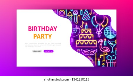 Birthday Party Neon Landing Page. Vector Illustration of Happy Promotion.