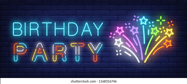 Birthday Party neon sign. Glowing multicolored firework on brick background. Night bright advertisement. Vector illustration in neon style for festivals and parties