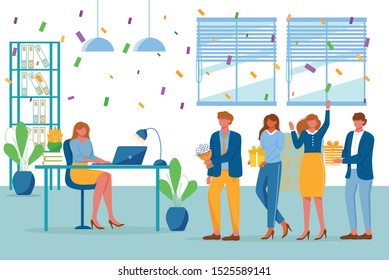 Birthday party in office flat vector illustration. Workers organize holiday, congratulate boss. Interaction, entertainment at workplace. Business team giving gifts to colleague cartoon characters