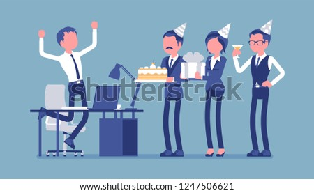 Birthday Party In The Office Male Happy Employee Celebration And Giving Gifts By Friends