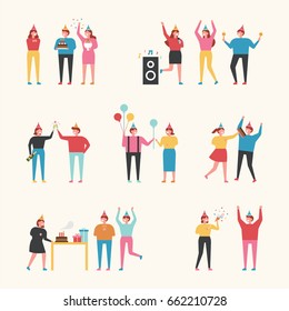 Birthday party people vector illustration flat design