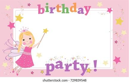 Birthday party photography frame. Fairy birthday theme. Happy birthday greeting card