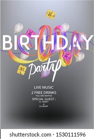 Birthday party poster with levitating gift bockes, ribbons and garlands. Vector illustration
