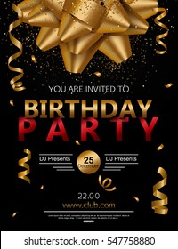 Birthday party poster with red gift box, candle and confetti. Vector illustration eps 10 format.