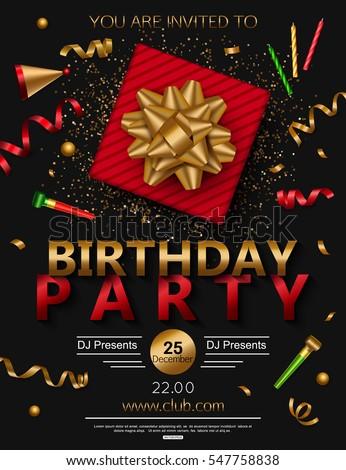 birthday party poster red gift box のベクター画像素材 ロイヤリティ