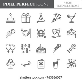 Birthday party related pixel perfect icons set with different holiday symbols and celebrating elements. Isolated 48x48 pixels b-day pictograms vector illustration with editable stroke.