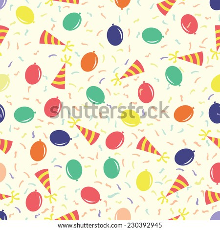 birthday party seamless pattern with funny cap and air balloon for gift wrapping vector