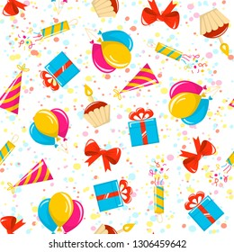 Birthday party seamless pattern. Vector background with colored icons on background of confetti