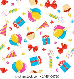 Birthday party seamless pattern. Vector background with colored icons. Gigt box, balloons, birthday cake, party hat