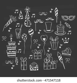 Birthday party set icons or elements using doodle or hand drawing style on chalkboard background
