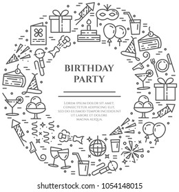Birthday party theme banner consisting of line icons with editable stroke in form of circle with copy space - elements for invitation or congratulation card in minimalistic style. Vector illustration.