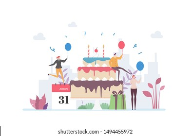 Birthday Party Vector Illustration Concept Showing a group of people celebrating birthday using a giant cake, Suitable for landing page, ui, web, App intro card, editorial, flyer, and banner.