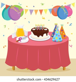 Birthday party. Vector illustration of kid birthday party.