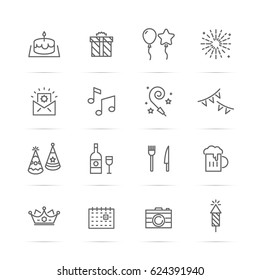 birthday party vector line icons, minimal pictogram design, editable stroke for any resolution, happy birthday concept