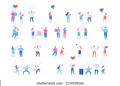 Birthday party vector set. People celebrating and having fun. Flat vector characters.